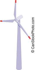 Wind turbine icon, isometric style