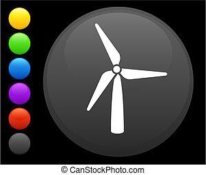wind turbine icon on round internet button original vector...