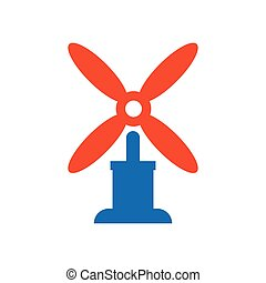 wind turbine icon vector blue and orange