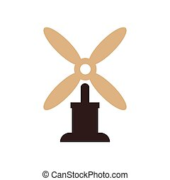 wind turbine icon vector brown color
