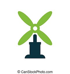 wind turbine icon vector green