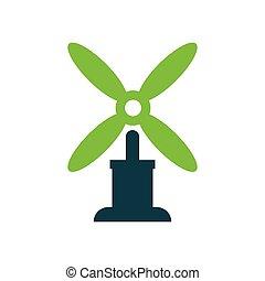 wind turbine icon vector green