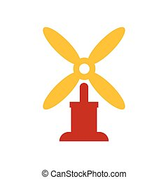 wind turbine icon vector yellow and red color