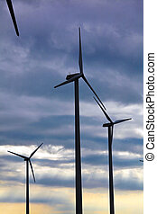 Wind turbine in a wind park for alternative energy power