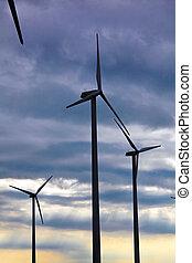 Wind turbine in a wind park for alternative energy power