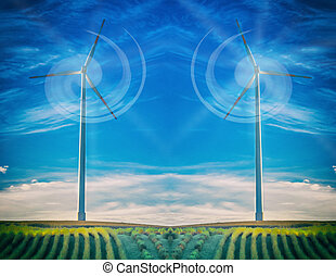 Wind turbine in abstract blue sky.