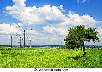 Wind turbine in green nature