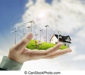 wind turbine in hand