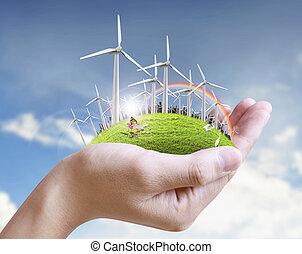 Wind turbine in  hand