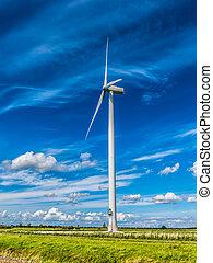 Wind power turbine in Flevoland polder in the Netherlands