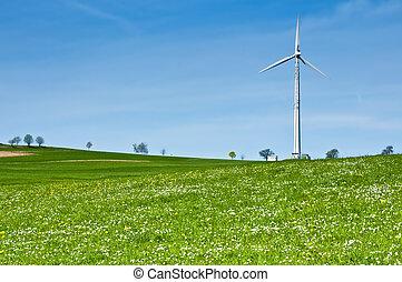 Wind Turbine in Spring Landscape