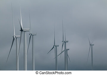 Wind turbine in the dark sky