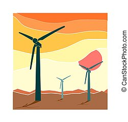 Wind Turbine landscape illustration. Wind energy