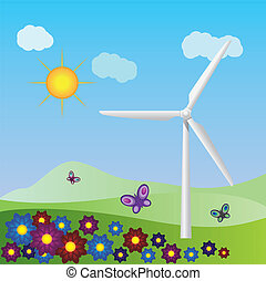 Wind turbine landscape - Summer landscape with wind turbine...