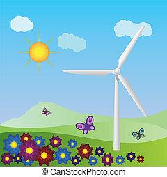 Wind turbine landscape - Summer landscape with wind turbine ...