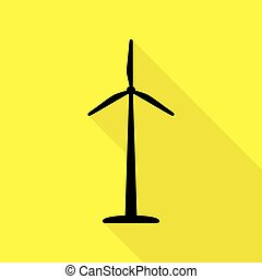 Wind turbine logo or sign. Black icon with flat style shadow path on yellow background.