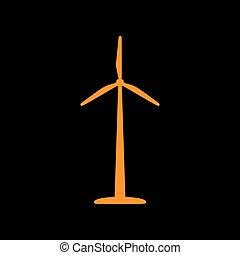 Wind turbine logo or sign. Orange icon on black background. Old phosphor monitor. CRT.