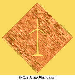 Wind turbine logo or sign. Vector. Red scribble icon obtained as a result of subtraction rhomb and path. Royal yellow background.