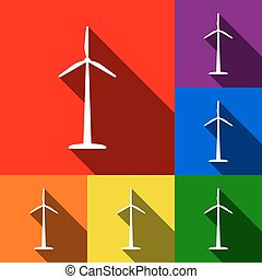 Wind turbine logo or sign. Vector. Set of icons with flat shadows at red, orange, yellow, green, blue and violet background.