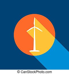 Wind turbine logo or sign. Vector. White icon on tangelo circle with infinite shadow of light at cool black background. Selective yellow and bright navy blue are produced.