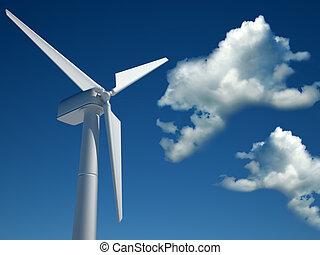 Wind turbine - Modern wind turbine against cloudy blue sky -...