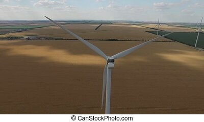 Wind turbine on a background of yellow wheat fields green meadows on the banks of the sea top view. Aerial survey. Close up