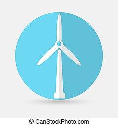 Wind Turbine, on a white background