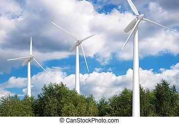 Wind turbine on blue sky. Eco energy