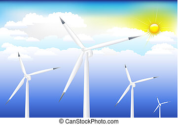 Wind Turbine On Blue Sky - Four Wind Turbine Generating...