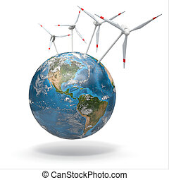 Wind turbine on Earth. 3d Source of map:...