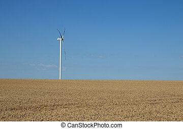 wind turbine on field renewable energy