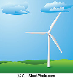 Wind turbine on grass field