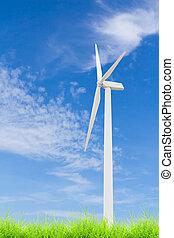 wind turbine on green grass with blue sky