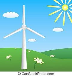 Wind turbine on sunny meadow