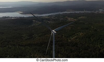 wind turbine on the background of a beautiful landscape
