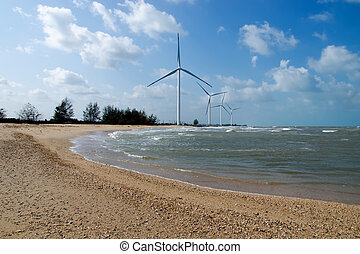 Wind turbine on the beach at south of Thailand.