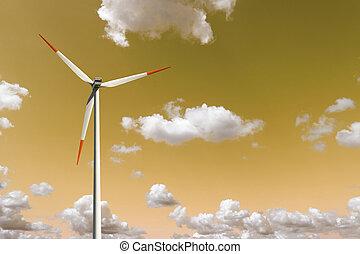 Wind turbine on the sky