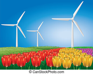 Wind turbine on tulip field
