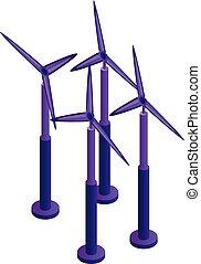 Wind turbine plant icon, isometric style