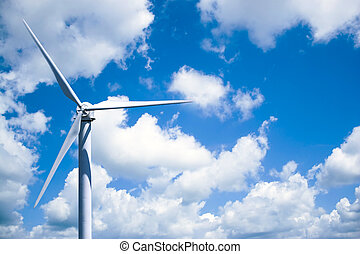 Wind Turbine Power Generation - A single wind turbine over a...