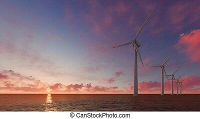 Wind turbine power generators on the sea