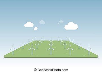 Wind turbine power isometric perspective illustration.