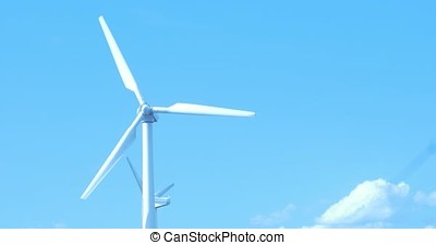 Wind Turbine producing alternative energy, close up