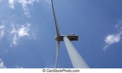 Wind turbine producing bioenergy using innovative technologies bottom view. Close up