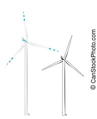 Wind turbine realistic color and sketch outline