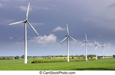 wind turbine producing renewable green energy and electricity no pollution and co2