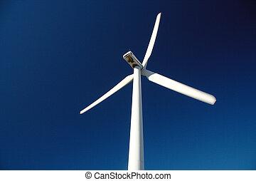 Wind turbine. Renewable energy source - Wind turbine on blue...