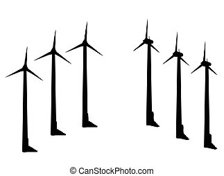 wind turbine silhouette on white background