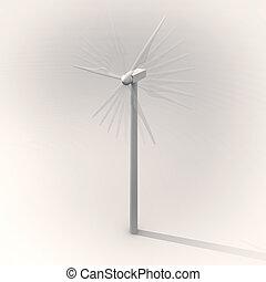Wind turbine spinning, vintage image