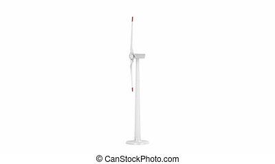 Wind turbine spins on white background